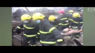 A 19 year old firefighter found alive after 2 days missing in Tianjin China
