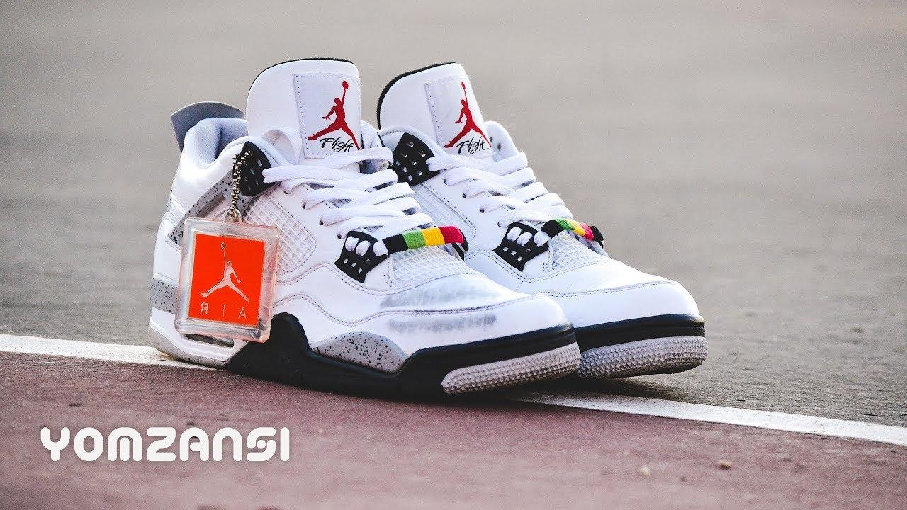 "82e2786787d29e CLOSER LOOK  Custom Buggin  Out s Air Jordan 4 ""White Cement"" - YouTube"