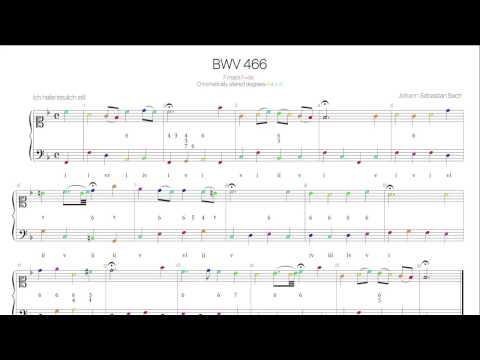 Bach BWV 466 Harmonic analysis with colored notes -Schemelli Songbook 46-