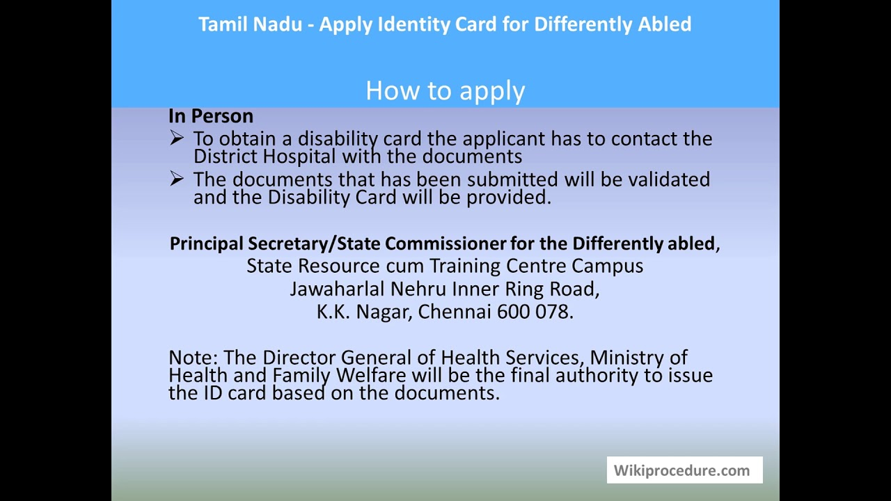 Tamil Nadu - Apply Identity Card for Differently Abled
