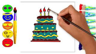 Learning Birthday Cake Drawing and Coloring For Kids | Coloring & Drawing  Pages For Children