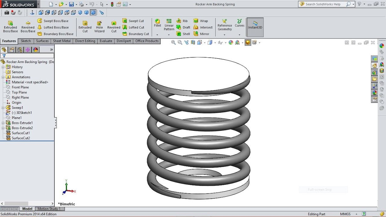 Solidworks Tutorial Rocker Arm Backing Spring