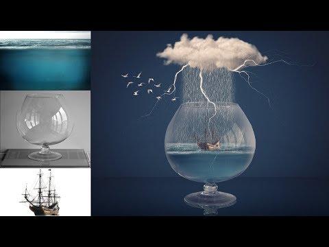 Rain In Glass Photoshop Manipulation Tutorial Digital Art thumbnail