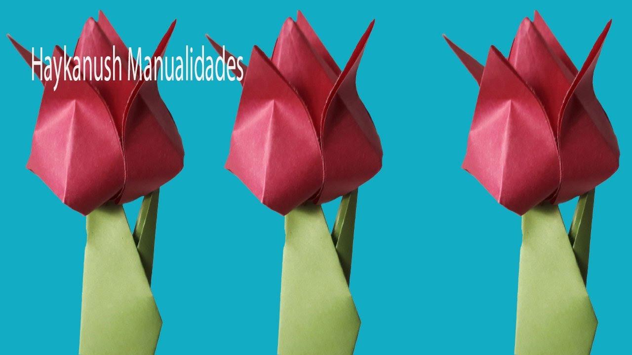 Tulipán De Papel Como Hacer Flores De Origami Un Tulipán De Papel