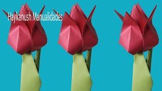 Tulipán de papel/ Como Hacer Flores de Origami un Tulipán de Papel Faciles