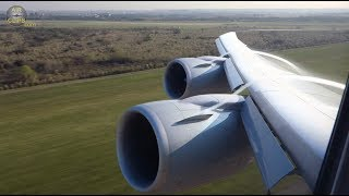 BEST EVER B747-8 Wing View! BEST vortex & aerial views: Lufthansa Buenos Aires! [AirClips]