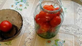 помидоры маринованные  на зиму с морковной ботвой