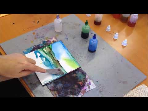 #2 Alcohol Ink Abstract/Landscape Painting Demo on tile – kristarobertsonart