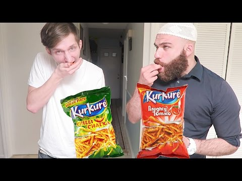 EUROPEAN AND ARAB GUY TRYING INDIAN SNACK KURKURE FOR FIRST TIME!!