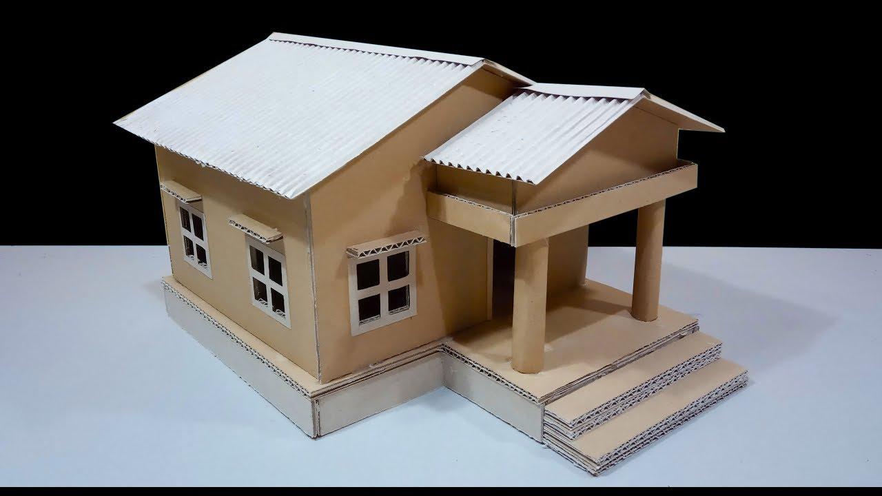 Cara Mudah Membuat Miniatur Rumah Dari Kardus Cardboard Craft Simple Youtube