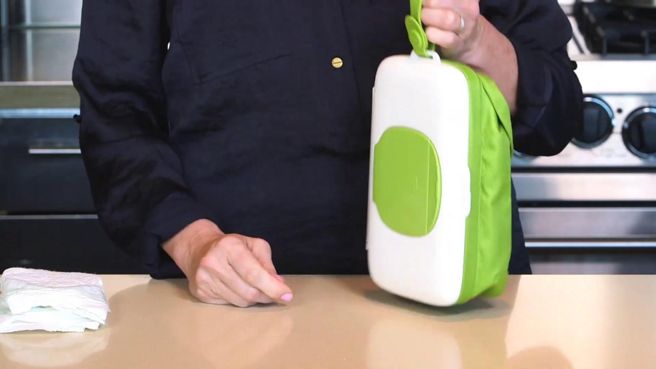 Green OXO Tot On-the-Go Travel Wipes Dispenser