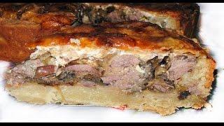 Очень вкусный и простой пирог с печенью и яблоками.