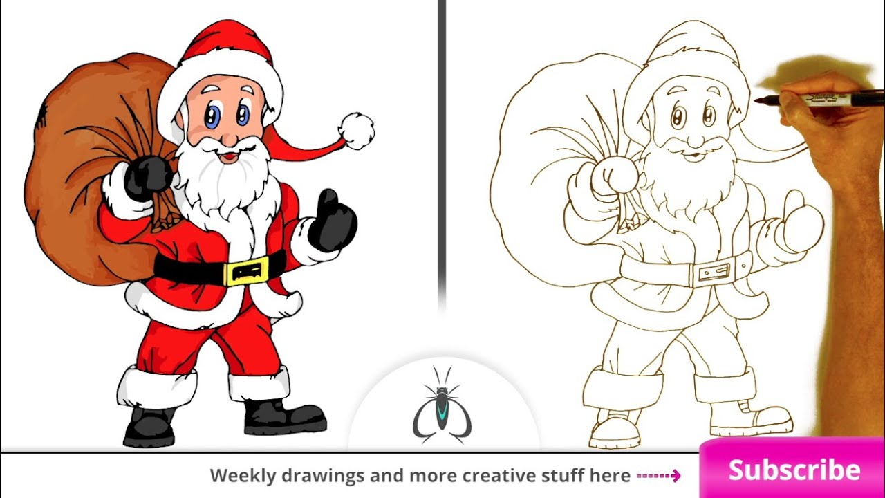 how to draw santa claus step by step easy art lesson youtube