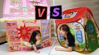누구의 텐트가 더 멋질까요?!! 서은이와 엄마의 텐트 대결 콩콩이 타요 공주 인디언 콩순이 텐트 토이 Tent Toy Contest