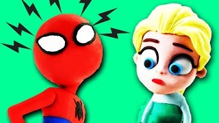 Frozen Elsa saved by Spiderman 🙊 play doh superhero in a Funny 😆 Stop Motion video for kids - SC4K