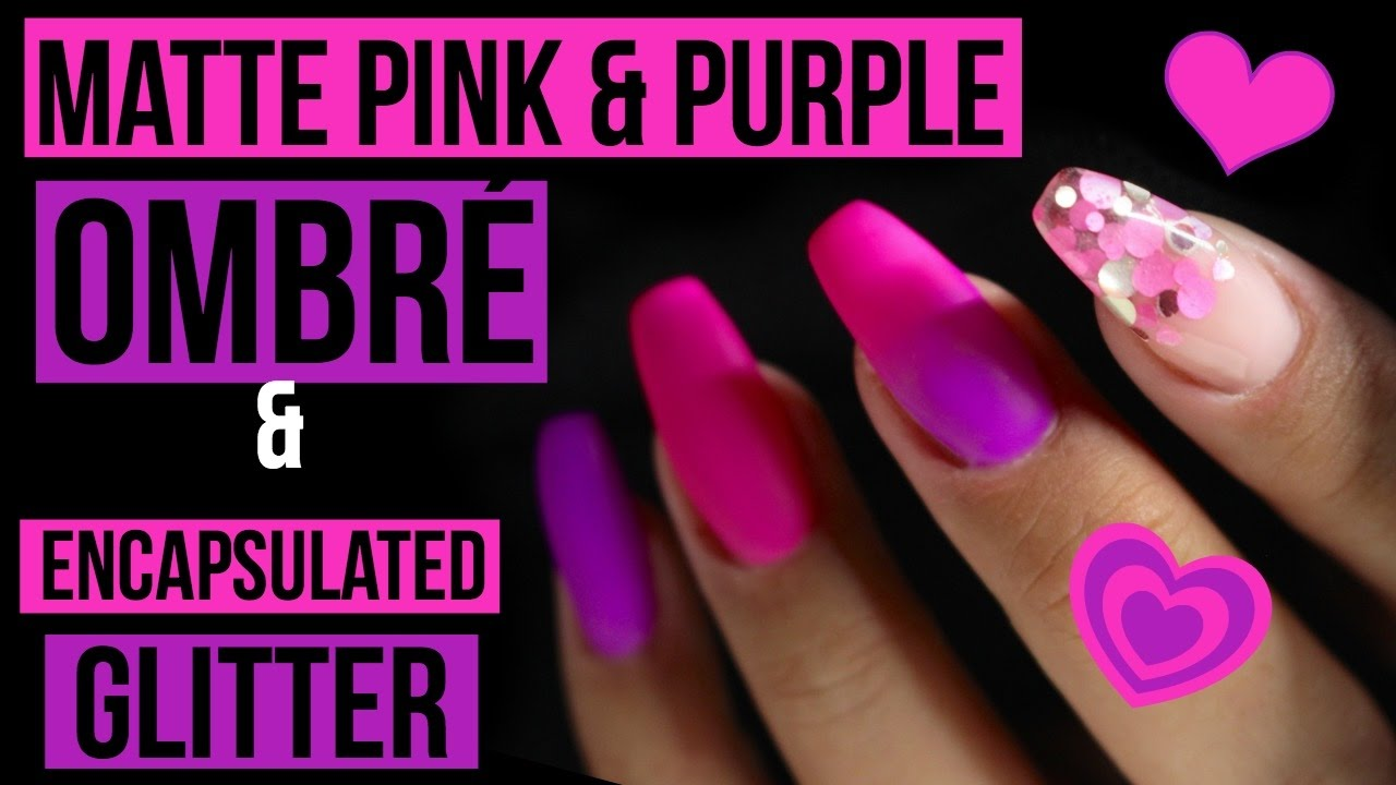 Matte Pink Purple Gel Polish Ombré Encapsulated Chunky