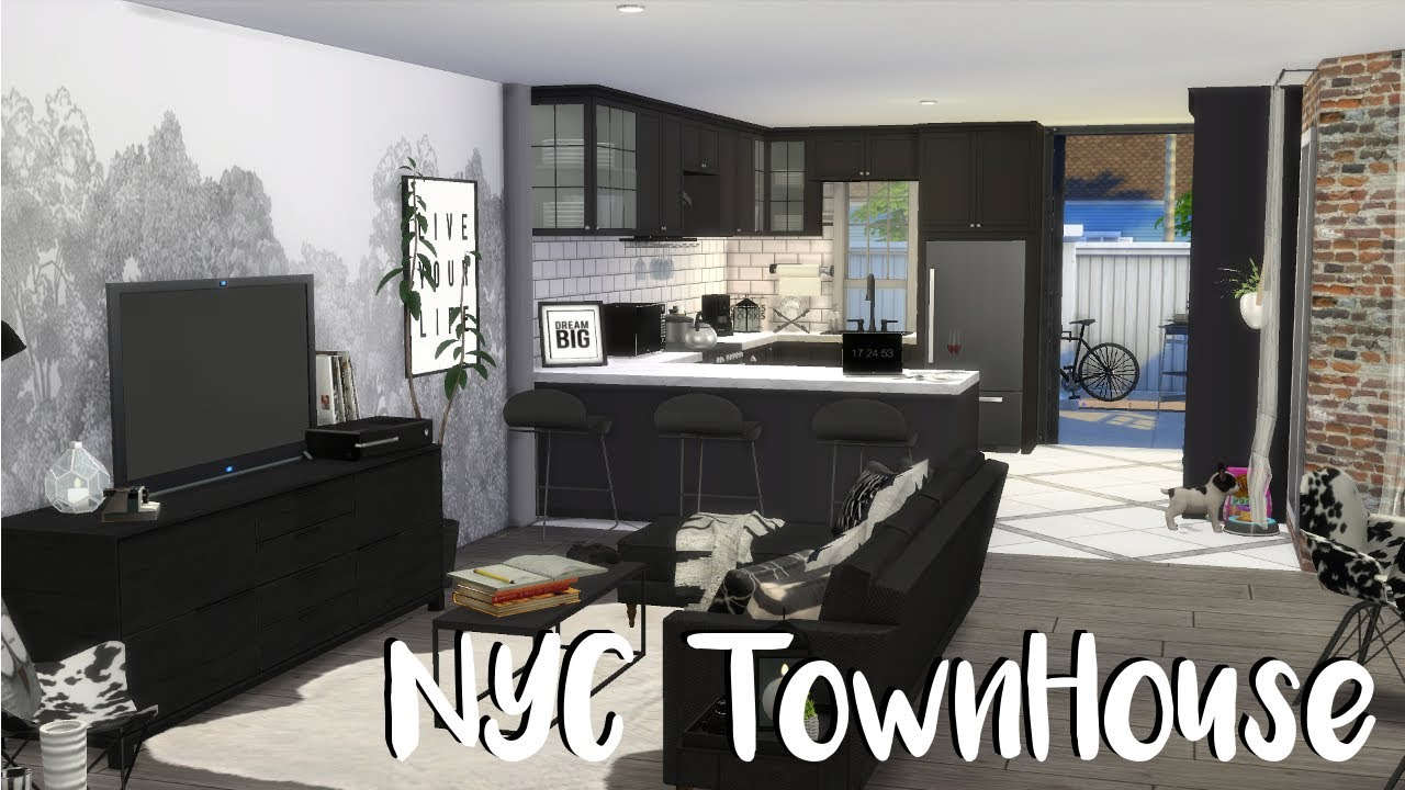The Sims 4 Speed Build Nyc Townhouse Cc Build Youtube