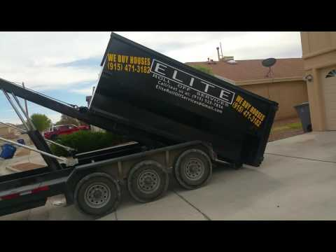 15 yard dumpster delivered to your driveway. Junk removal