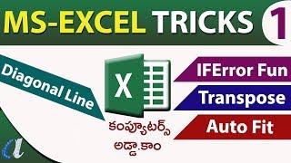 Ms-Excel Tricks in Telugu || Part-1||Transpose, IF Error,Diagonal line, Auto Fit ||