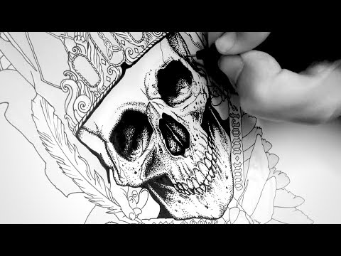 Drawing a Skull Tattoo Design with Ink | Time lapse | Ty's Gothic Tattoo