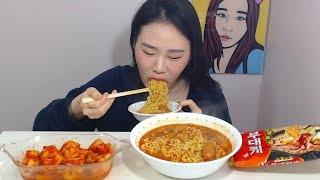 부대찌개면2봉에 소시지^^ 라면 먹방 Mukbang eating show