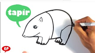 How to Draw a Tapir - Cute - Easy Pictures to Draw