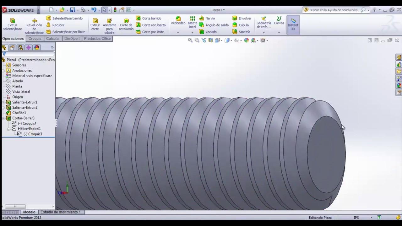 Dibujo De Un Tornillo De Rosca Americana Unc 3d En Solidworks
