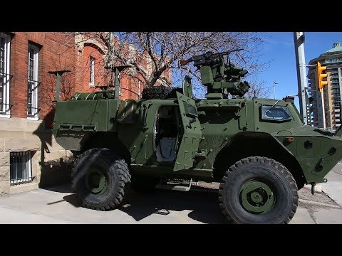 New armoured vehicles on display during King's Own Calgary Regiment St. George's Day parade