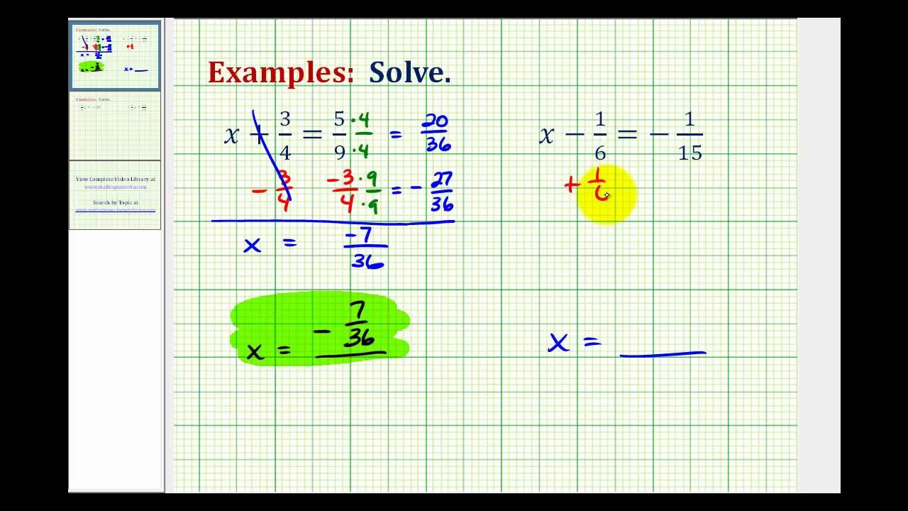 Solving Fraction Equations with videos worksheets games – Solving Equations Involving Fractions Worksheet