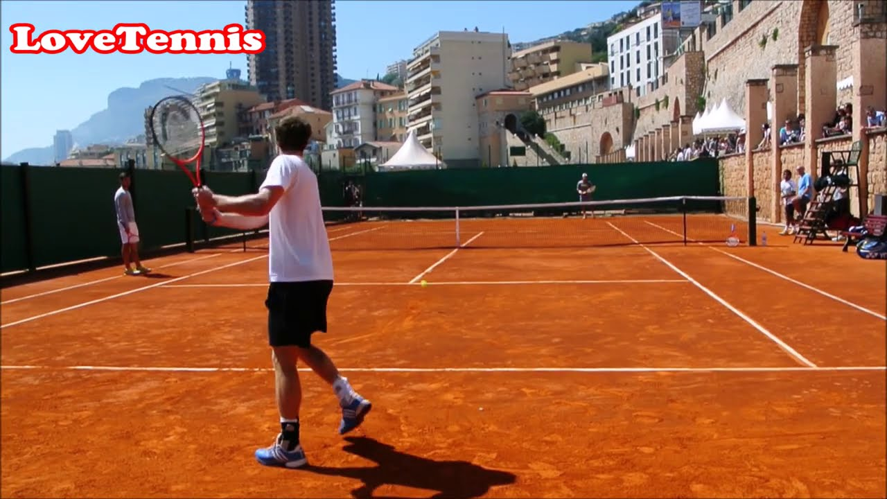 Andy Murray Intense Practice - Court Level View - ATP Tennis