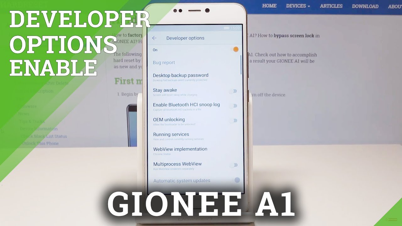 Developer Options GIONEE A1 - Enable OEM Unlock & USB Debugging
