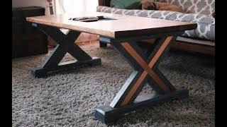 X Leg Coffee Table With Copper Inlay // IGBC 5