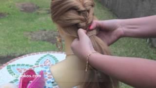 Прическа для длинных волос с резинками на себе