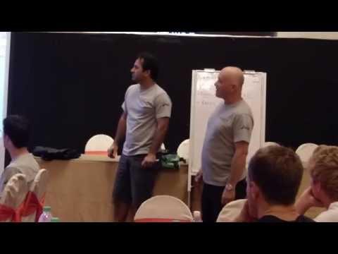 Ric Charlesworth in the Training Room with the Australian mens hockey team, The Kookaburras