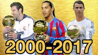 Ballon d'Or Top Tens From 2000-2017