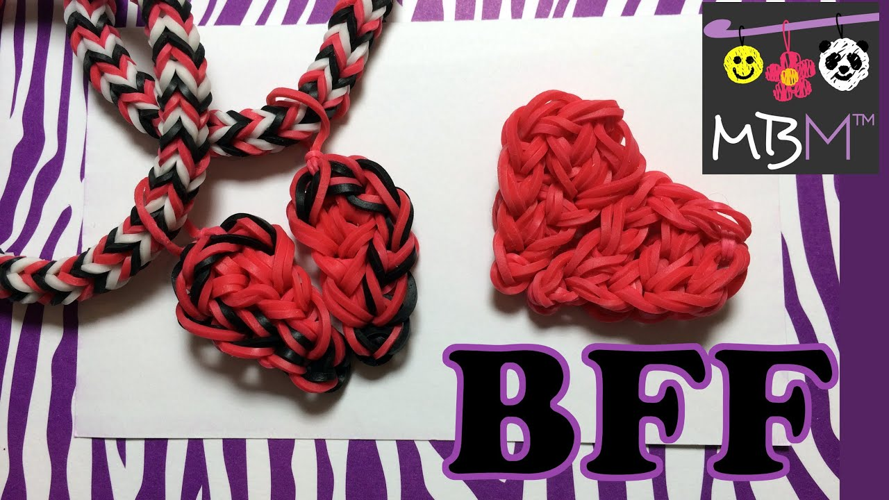 Rainbow Loom Charms: Best Friend Half Hearts BFF - YouTube