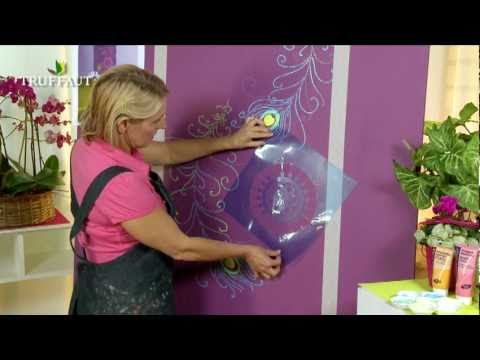 diy d co peindre au pochoir une fresque murale. Black Bedroom Furniture Sets. Home Design Ideas