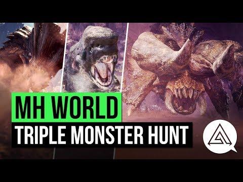 Monster Hunter World   Triple Monster Hunt - Diablos, Jyuratodus & Barroth in 20 Minutes