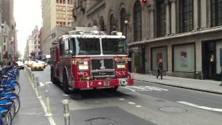 FDNY ENGINE 1 RESPONDING WEST 31ST STREET IN THE MIDTOWN AREA OF MANHATTAN IN NEW YORK CITY.