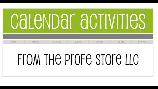 Spanish Calendar Activity Preview