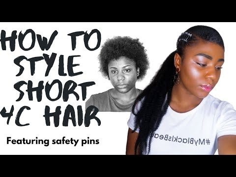 NATURAL HAIRSTYLE FOR SHORT 4C HAIR | Safety pin hairstyle | Protective hairstyle | Journey with Izy