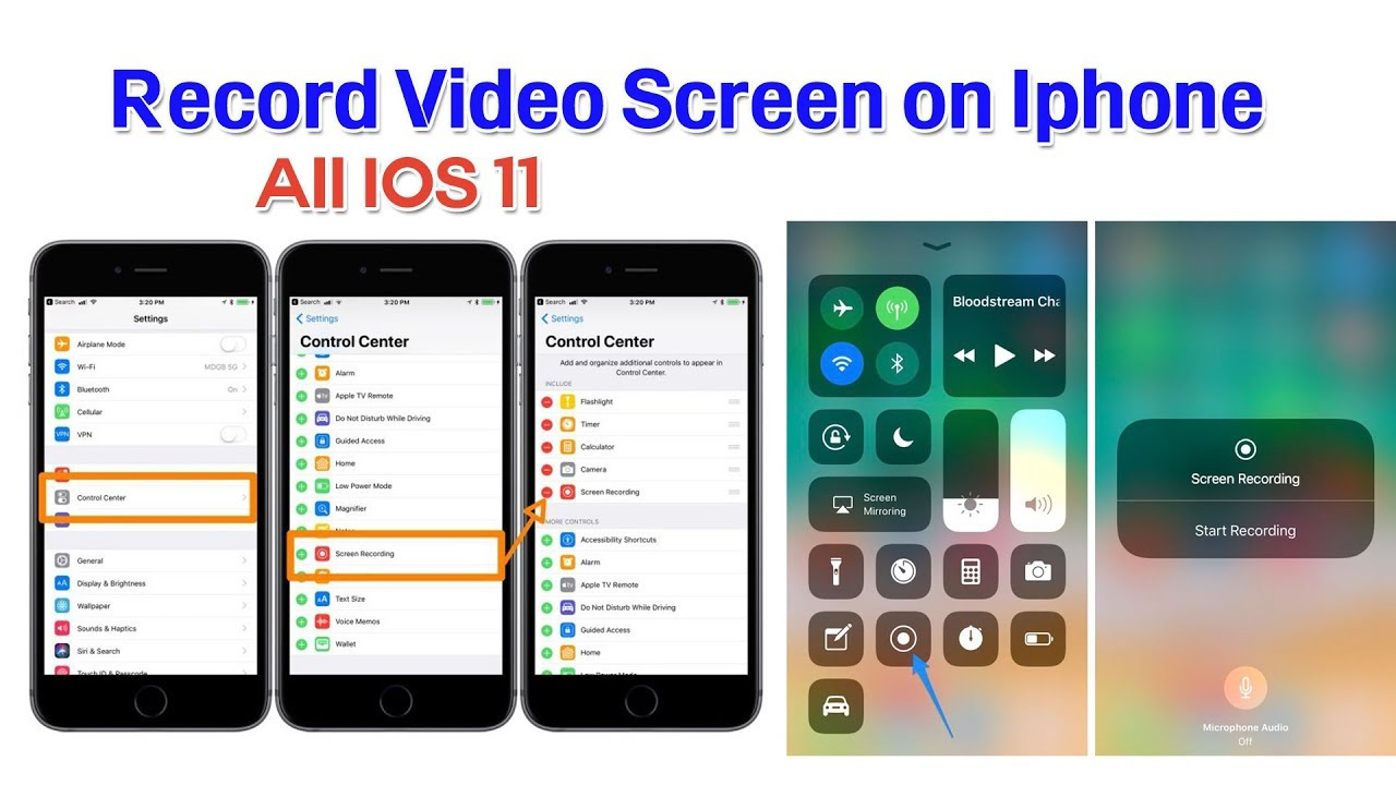 how to record video screen on iphone 8,8plus,X  (All ios 11)