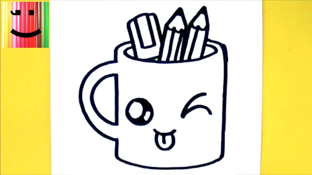 Comment dessiner tasse crayons kawaii dessin kawaii et facile youtube - Tasse de cafe dessin ...