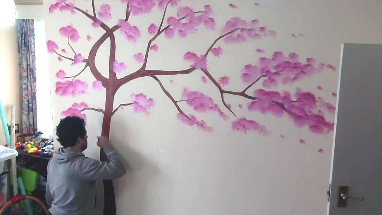 Tree art | Mural Painting | Living Room Wall Decor - YouTube