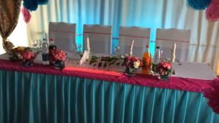 Оформление свадьбы бумажными цветами  Свадьбф фуксия и бирюза
