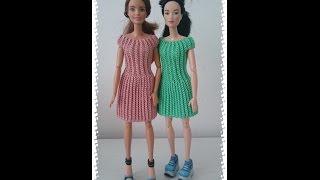 Одежда для куклы крючком  Платье резинка