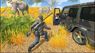 Safari Hunting in dense forest.wildlife gaming video.