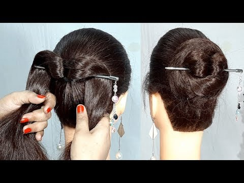New Simple bun hairstyle using bun stick | Easy Hairstyles | Hairstyle with Trick | 1 min hairstyle thumbnail