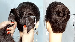 New Simple bun hairstyle using bun stick | Easy Hairstyles | Hairstyle with Trick | 1 min hairstyle
