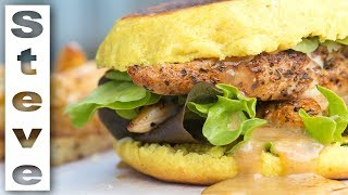 CHICKEN CAESAR BURGER - Make your Bun with no Oven